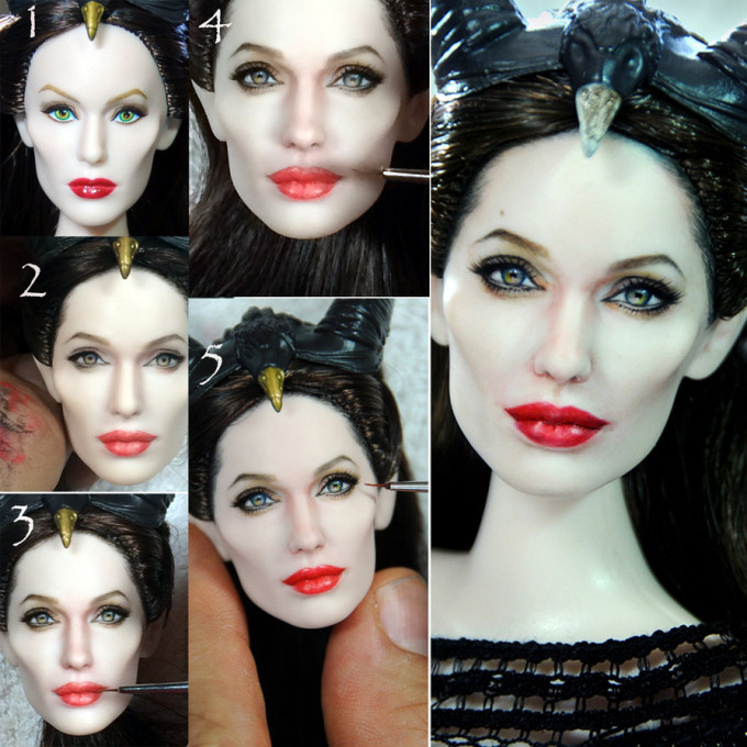 angelina_jolie_maleficent_doll_repaint_process_by_noeling-d7p7p6c